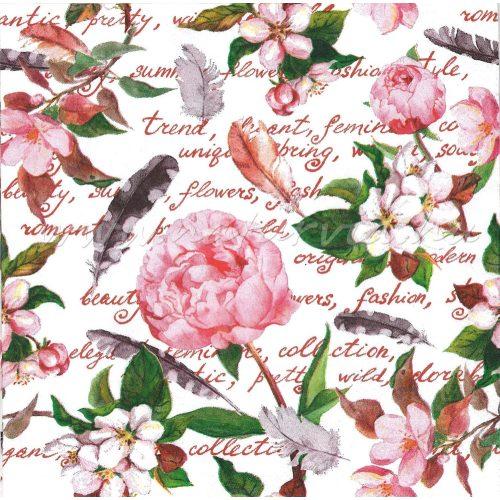 Szalvéta VIRÁG, levelek, madártoll