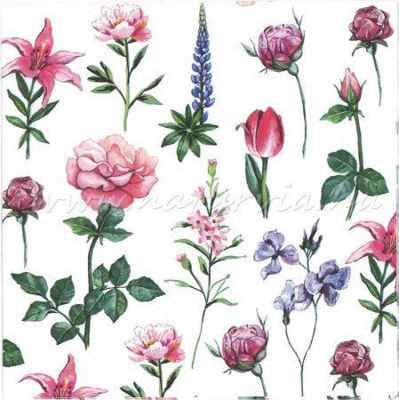 Szalvéta VIRÁG, kerti virágok - RÓZSA, TULIPÁN