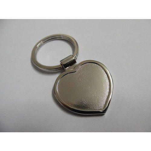 fém (nikkel), gyantázható kulcstartó alap, SZÍV alakú