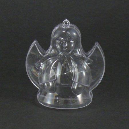 műanyag (akril) forma, 2 részes, átlátszó / áttetsző ANGYAL (8 cm)