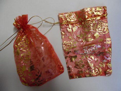 Organza tasak, díszzacskó 9*13 cm, PIROS rózsás