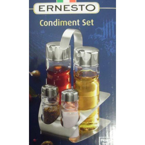Asztali ecet-, olaj-, só- és borstartó (nemesacél)