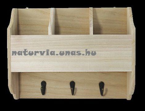 fa fogas, osztott polccal, 3 fém akasztóval (28*7*22cm)