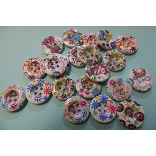 Virágos gombok / gomb csomag (10 db) vegyes szinekben