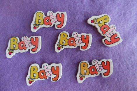 Kisbabás gomb BABY felirattal  (1 db) SÁRGA