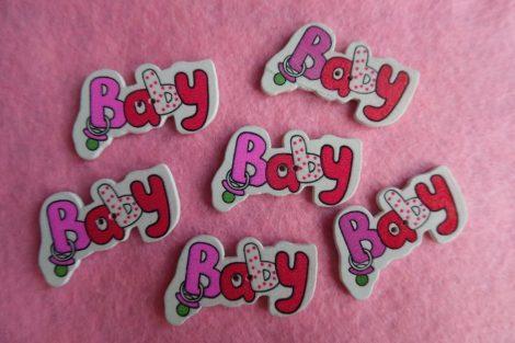 Kisbabás gomb BABY felirattal  (1 db) PIROS