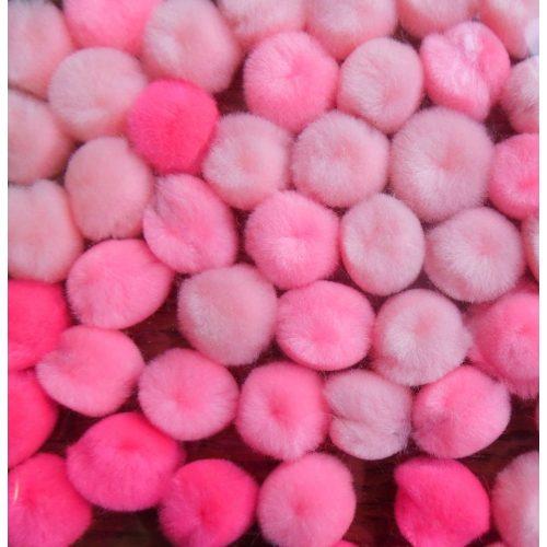 Pom-pom csomag 15 mm, PINK / RÓZSASZÍN árnyalatai (60 db / csomag)