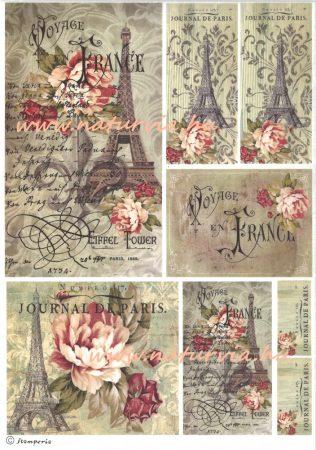decoupage (dekupázs) rizspapír, FRANCIA UTAZÁS - PÁRIZS - EIFFEL-TORONY rózsákkal