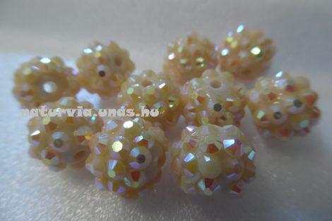 Shamballa strassz gyöngy 10 mm, KRÉM