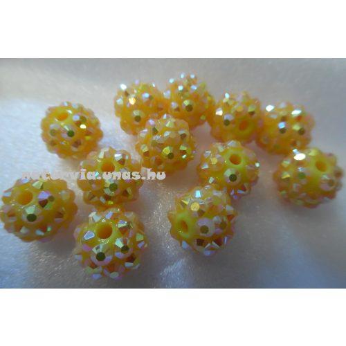 Shamballa strassz gyöngy 10 mm, SÁRGA