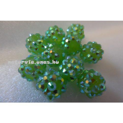 Shamballa strassz gyöngy 10 mm, VILÁGOS ZÖLD