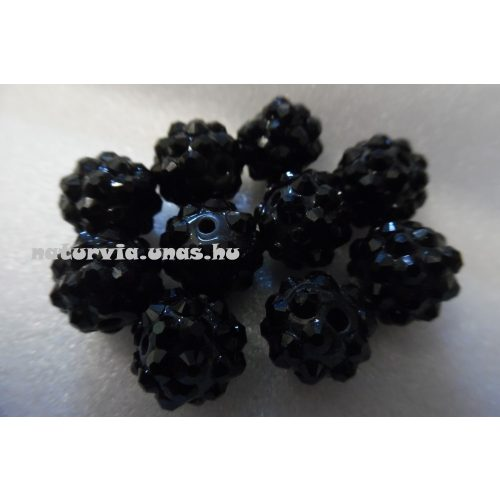Shamballa strassz gyöngy 10 mm, FEKETE