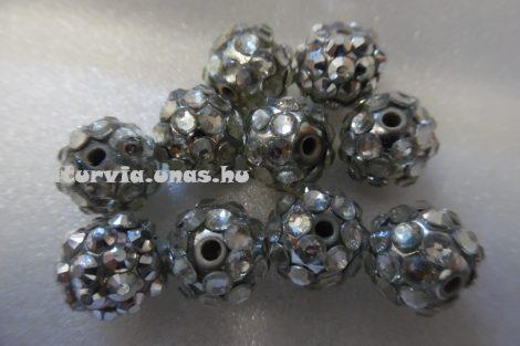 Shamballa strassz gyöngy 10 mm, EZÜST