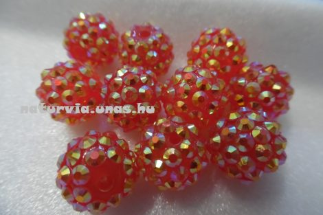 Shamballa strassz gyöngy 12 mm, NARANCSSÁRGA / VÉRNARANCS