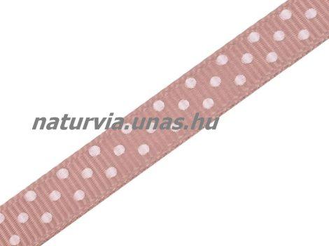 Ripsz szalag, PÖTTYÖS / PETTYES (10 mm), drapp alapon apró fehér pöttyök