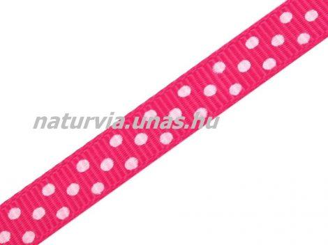 Ripsz szalag, PÖTTYÖS / PETTYES (10 mm), pink / magenta alapon apró fehér pöttyök