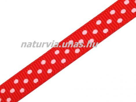 Ripsz szalag, PÖTTYÖS / PETTYES (10 mm), piros alapon apró fehér pöttyök
