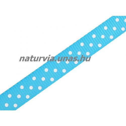 Ripsz szalag, PÖTTYÖS / PETTYES (10 mm), világos kék / babakék alapon apró fehér pöttyök