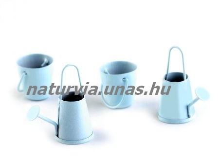 Fém dekoráció - kanna + vödör szett (2-2 db), KÉK - színes bádog