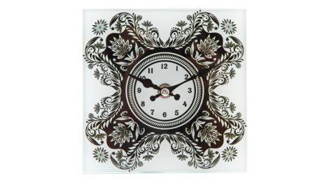 falióra, óra, FEKETE-FEHÉR mintás (15*15 cm), üvegből