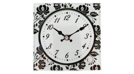falióra, óra, FEKETE-FEHÉR mintás (15*15 cm), üvegből, VIRÁGOS