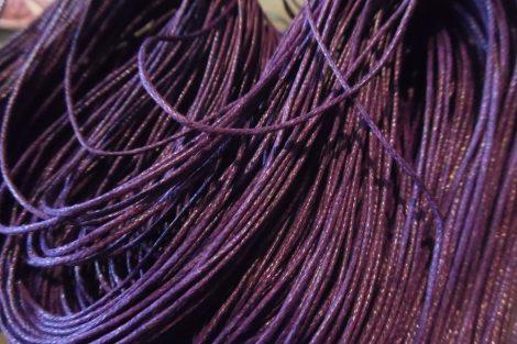 viaszolt szál, viaszos zsinór, kordszál (1 mm vastag) SÖTÉT LILA (5 m)