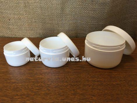 kozmetikai tégely menetes fedéllel (100 ml), FEHÉR